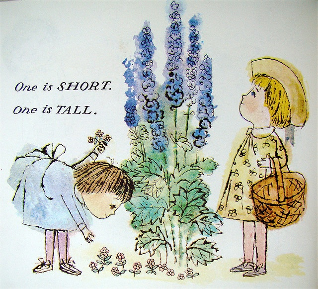 """Tall and short  From """"Karen's Opposites"""" by Alice and Martin Provensen, 1963."""