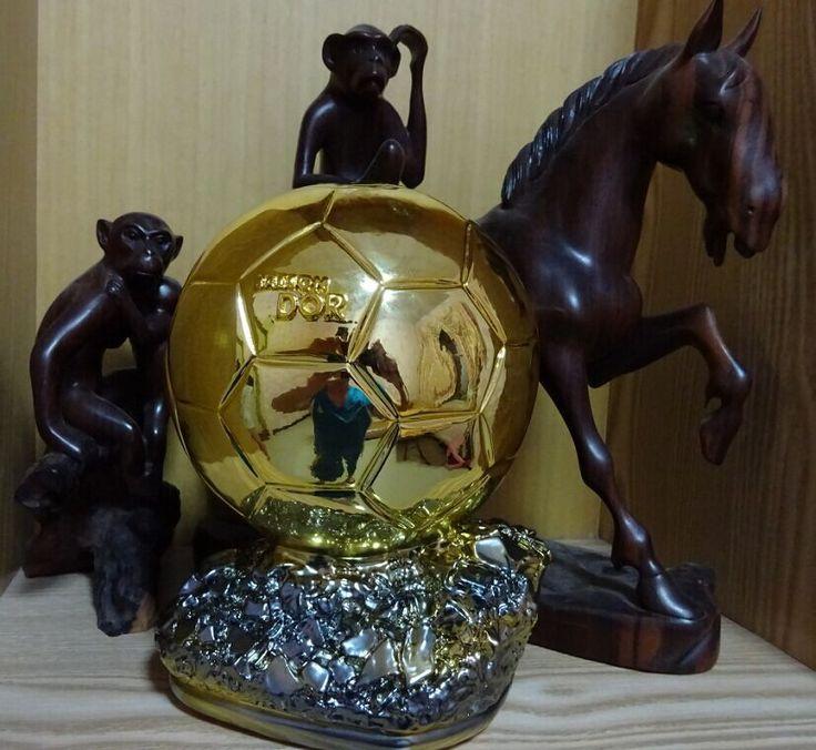 Ballon d'Or 2014 Football Piala Dunia Player dari Tahun Resin Emas Bola 24 cm Pengiriman Pabrik