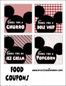 Sweet FREE printable! No nagging at Disneyland! Give your kids a coupon book ahead of time so they can redeem them for treats and souvenirs at the park.