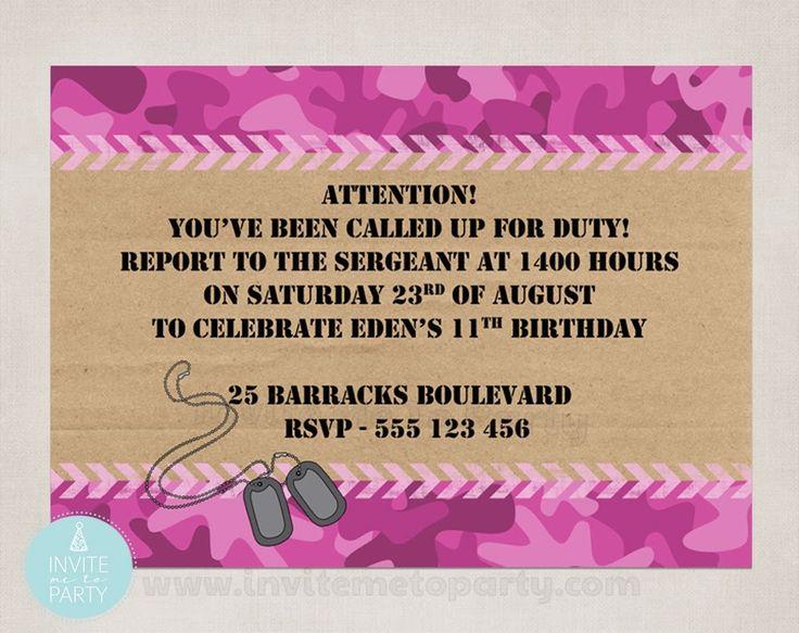 Girls Camo Invitation Invite Me To Party: Army Invitation | Camo Party