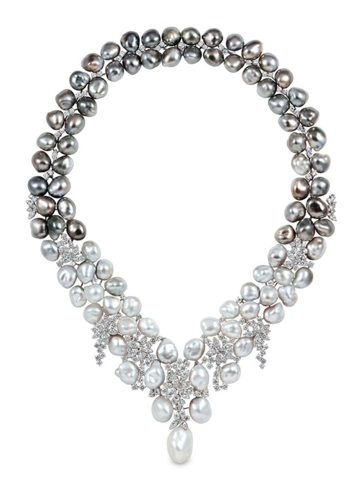 YOKO London pearl and diamond necklace.