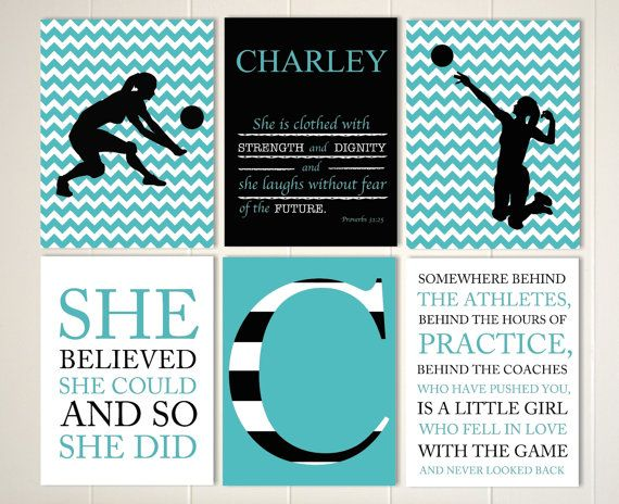 volleyball girls art volleyball room decor volleyball player girls sports quote art choose your sports and colors set of 6 prints - Volleyball Bedroom Decor