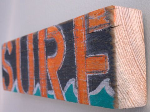 """""""Sometimes when getting thrown around violently by the waves, I forget if I am playing with the waves... or if they are playing with me."""" --- Van Dorph This is a beautiful surf sign with orange lettering on deep navy blue with a splash from the turquoise waves. This sign is delivered ready to hang. It is also thick enough to be used as a shelf sitter. It would be perfect for a beach house, nursery, kid's room, restaurant, cafe, retail shop, or any beach themed space. This sign measures.."""