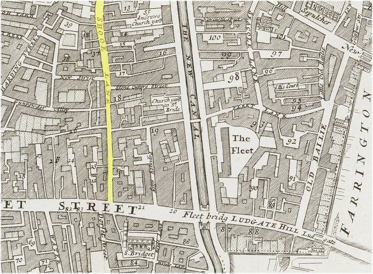 area around fleet street c1720 from the excellent blog http