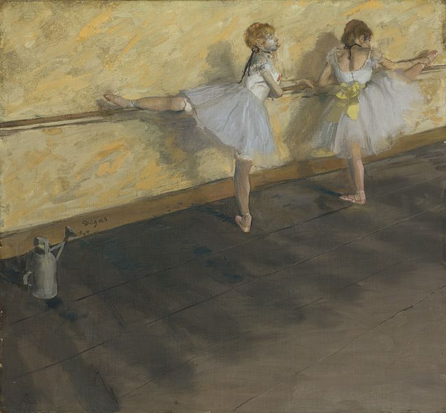 Edgar Degas (French, 1834–1917). Dancers Practicing at the Barre, 1877. The Metropolitan Museum of Art, New York. H. O. Havemeyer Collection, Bequest of Mrs. H. O. Havemeyer, 1929 (29.100.34) | The watering can, visible at left, was a standard fixture in ballet rehearsal rooms; water was sprinkled on the floor to keep dust from rising when ballerinas danced. Degas also used the watering can as a visual pun: its shape is mimicked by that of the dancer at right. #dance