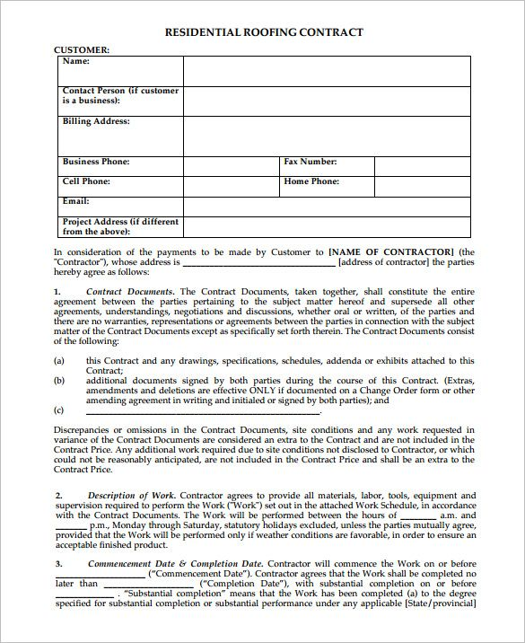 free residential roofing contract forms | roff in 2019