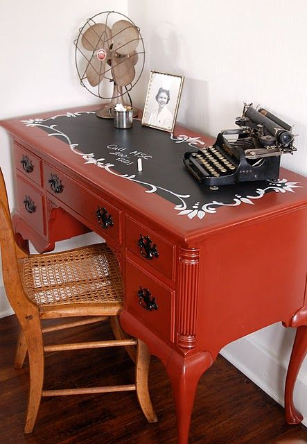 Chalkboard desktop for inspiration.  You could use 3 coats of Graphite Chalk Paint by Annie Sloan for the chalkboard, and Emperor's Silk for the desk...beautiful!