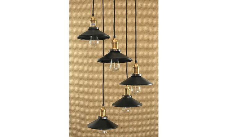 Mr Ralph | Vintage Cluster with x5 Metal Black Shade Pendants-ESSENTIALS, Pendants