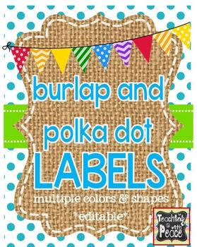 burlap and polka dot labels *editable* multiple shapes and colors