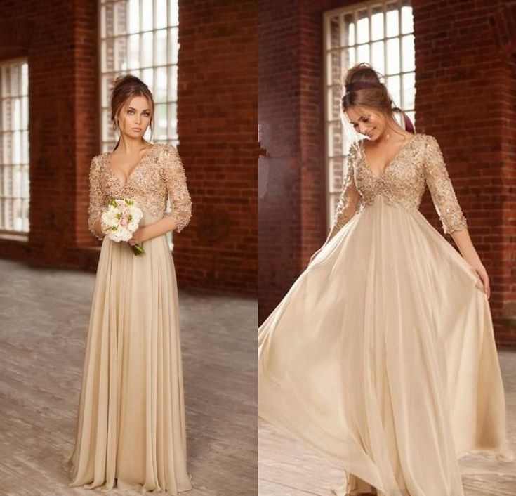 Champagne Empire Prom Dresses 2016 Deep V Neck 3/4 Long Sleeves A Line Evening Dress Pearls Beading Lace Applique Chiffon Party Gowns Cheap Sexy Prom Dresses Cheapest Prom Dresses