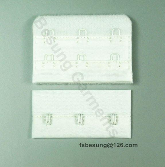 "bra hook and eye tape  1/2"" 3x2, nylon fibre,  top stitching, nylon coated hook and eye"
