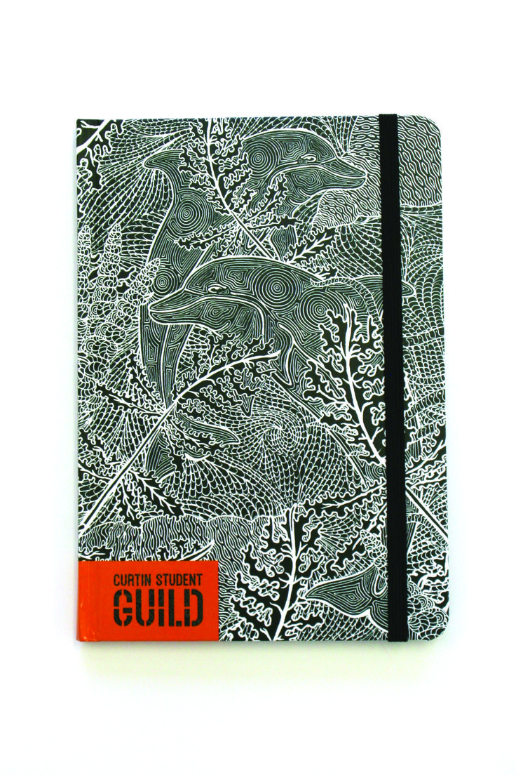 Curtin Student Guild University Diary – print production – A5 PLC diary with matte lamination + spot UV on cover, rounded corners + wrap-around elastic
