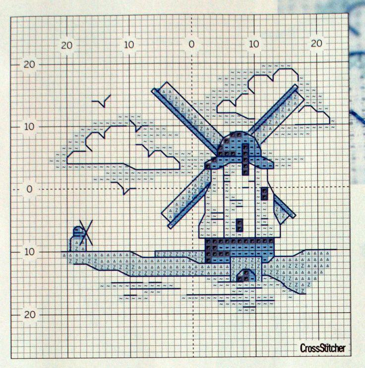 Kachle2. Dutch windmill in cross stitch pattern
