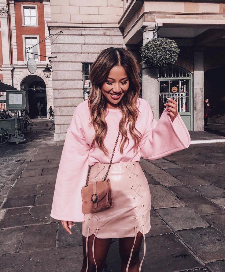 • Pink PU Lace Up Detail Skirt •
