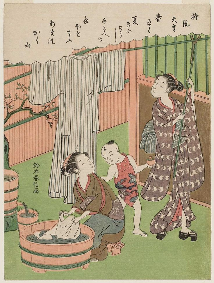Suzuki HarunobuTitle:Poem by Jitô Tennô, from an untitled series of One Hundred Poems by One Hundred Poets (Hyakunin isshu)Date:1767-68