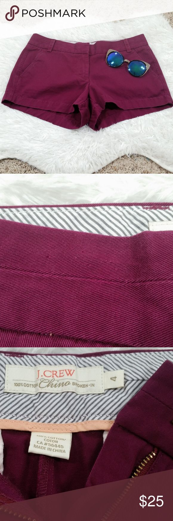 """J.Crew 3"""" Stretch Chino Maroon Shorts #340 Hi Guys! I'm Selling these J.Crew Chino Shorts In Great Condition. these would be perfect for spring and summer with a button down and some espadrilles! Waist 16"""". Hem 11.5"""". Front Rise 8.5"""". Back Rise 14.5"""". J. Crew Shorts"""