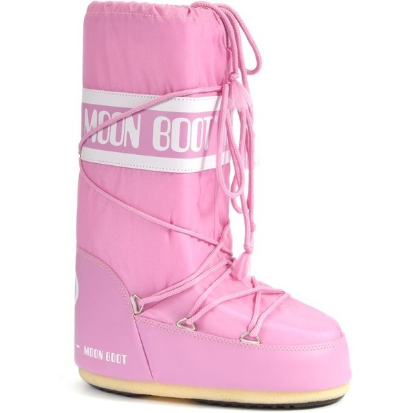 Moon Boot Pink Nylon Snow Boots ($130) ❤ liked on Polyvore