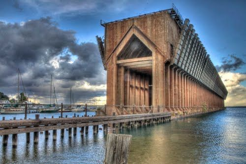 abandoned iron boat loading dock - marquette, michigan