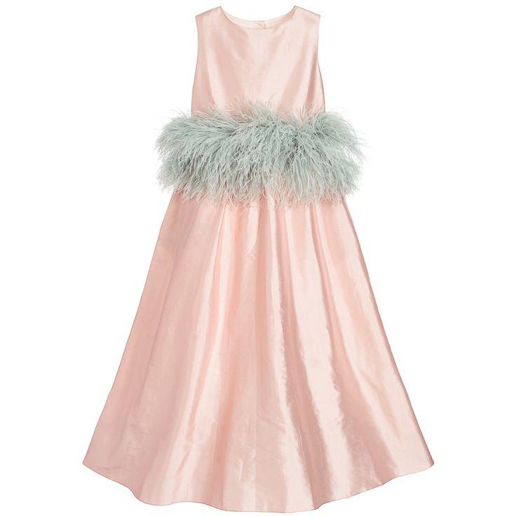Aristocrat Kids Girls Long Pink Silk 'Sweet As Sugar' Dress at Childrensalon.com