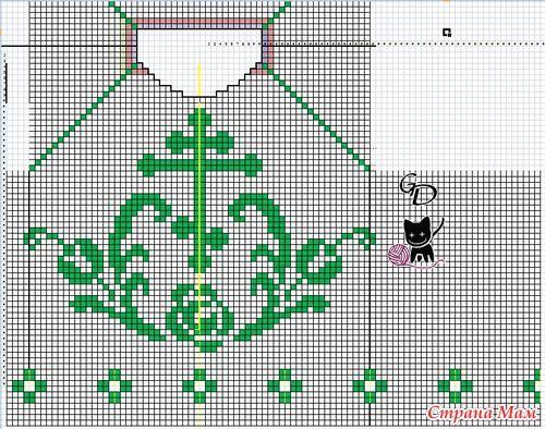 Крестильная рубашка на малыша. Идею подсмотрела на осинке. Пряжа: Maxi Ширина: 28см, длина 42см  схема филейного узора (Филейна сетка 1ст. с накидом + 1 воздушная петля)