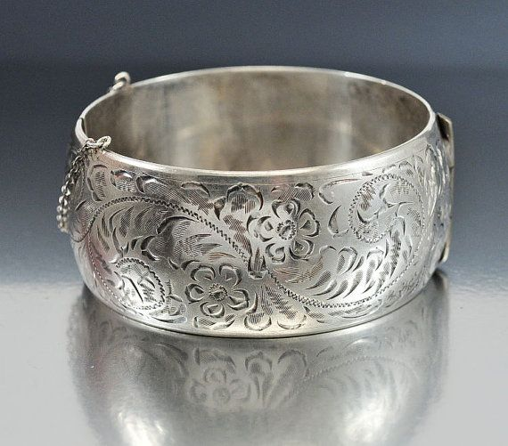 Vintage Wide Sterling Silver Bracelet Bangle Forstner Engraved Bracelets Pinterest Jewelry And
