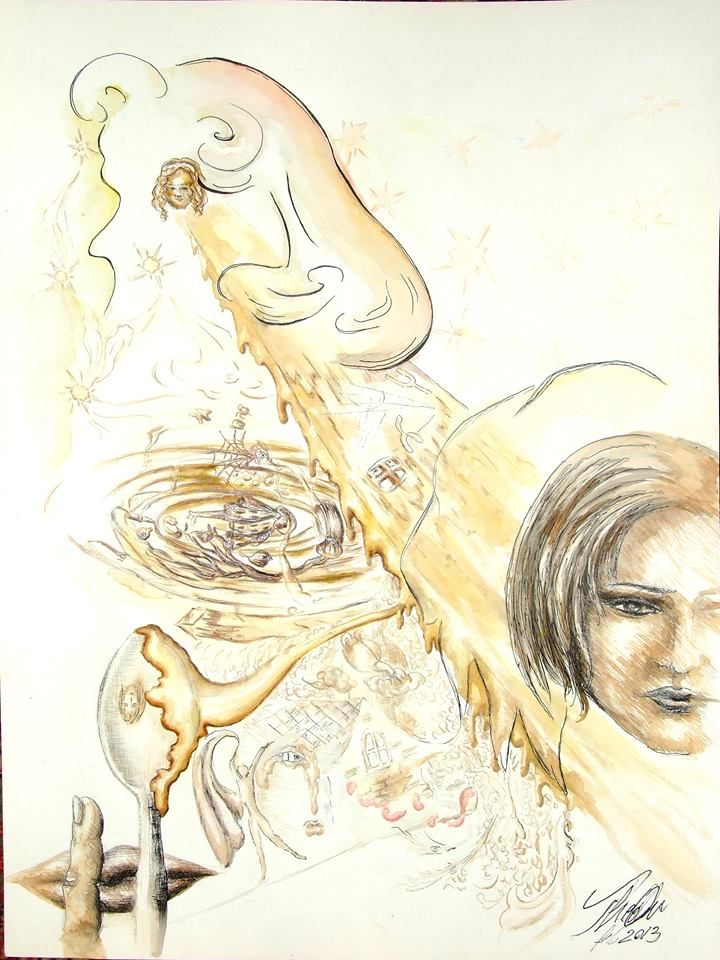 """""""Lunch: Golden Touches"""" - graphite, ink, tempera and coffee on paper A3/ creion grafic, tuș, tempera și cafea pe hârtie A3"""
