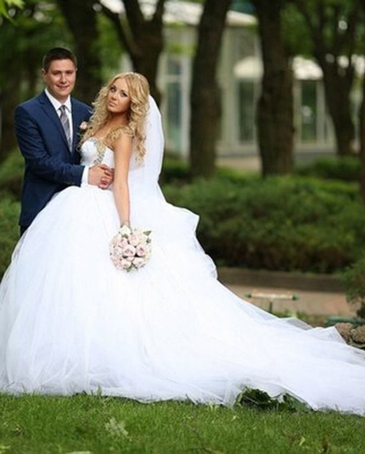 Cute and cheap Tulle Ball Gown Wedding Dress // More at http://www.cutedresses.co/product/sweet-crystal-beaded-tulle-ball-gown-wedding-dress/