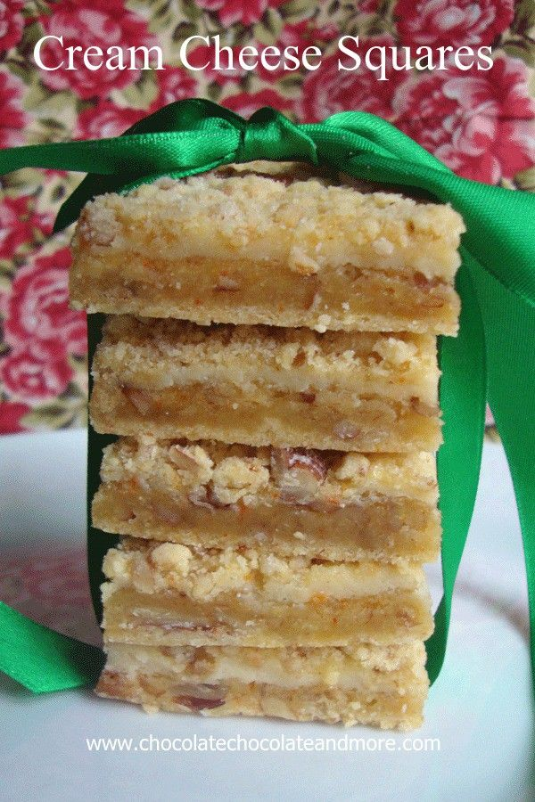 Cream Cheese Squares-The flavor of a cheesecake, but in a bar and with a yummy crumb topping! I love Cheesecake but the family is just so-so with it. They'll eat it if I make it, but only because it's the only sugar offered. And I'll be fair, I love a slice of cheesecake, But two...