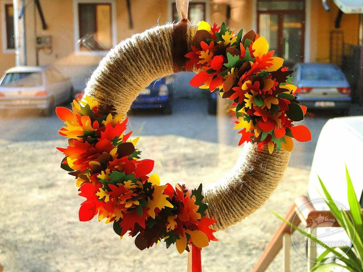 Coronita polistiren decorata in nuante de toamna / 2