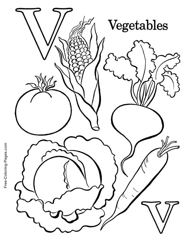 alphabet coloring pages v is for vegetables - Coloring Pages Leafy Vegetables