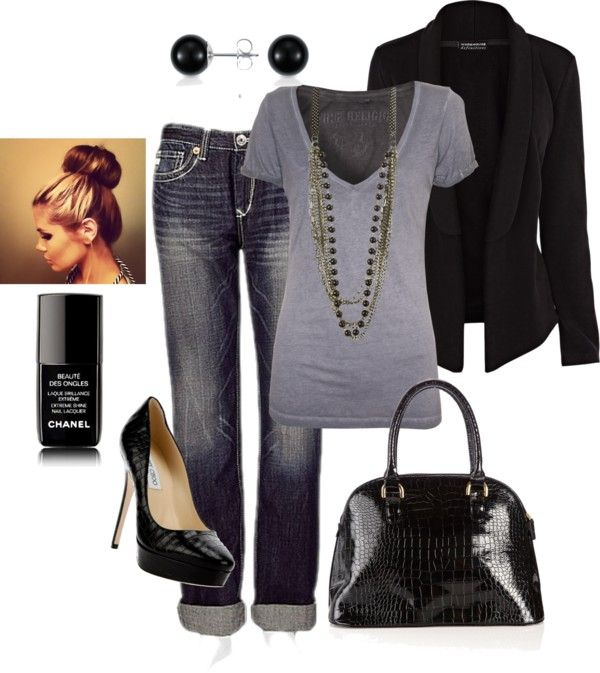 """""""Date Night""""  Get this look with CAbi's Blue Moon Indie Jean, Swag Tee and Owens Jacket."""