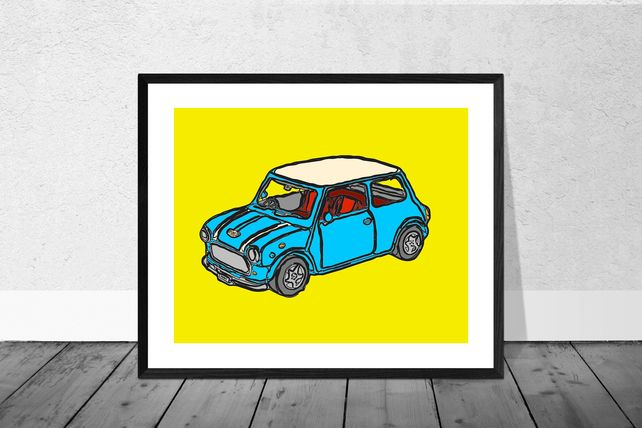 Bue Mini Cooper Print in 12 x 10 inch Mount £12.00