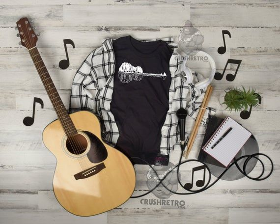Guitar Landscape On Kids Men Women Guitarist T Shirt For Boys Etsy In 2020 Guitar Player Gifts Guitarist Gifts High Quality Shirt