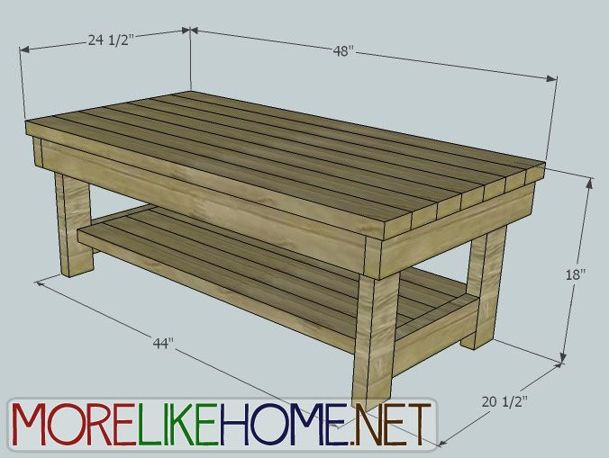 Build a chunky coffee table out of 2x4 39 s lots of diy for Coffee table dimensions design