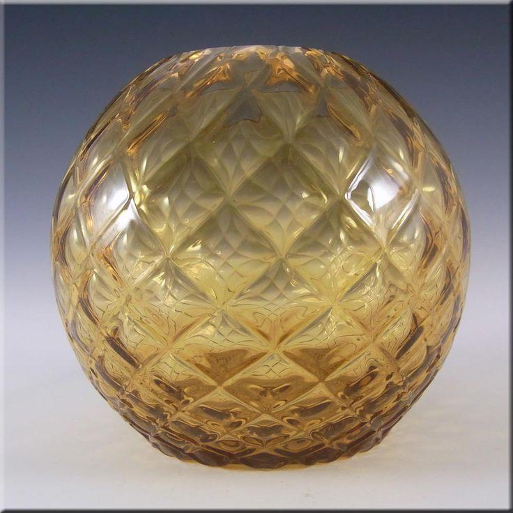 Borske Sklo 1950's Amber Bohemian Glass Optical Vase - £20.00