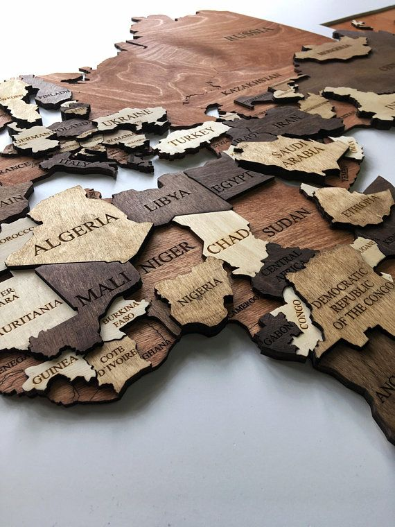 Wood Wall Art, Wall Map of the World Map, Wooden Travel Push Pin Map, World Map, Large Office, Wood Map, Farmhouse Decor, Weltkarte Holz