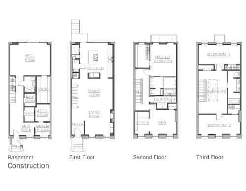 8 best brownstone floorplans images on pinterest floor for Narrow row house plans