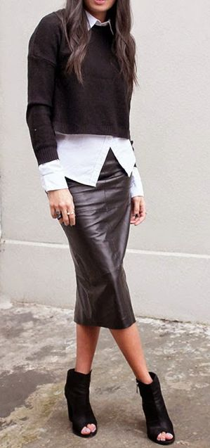 Perfectly layered: cropped jumper, striped shirt, leather skirt, booties.                                                                                                                                                      More
