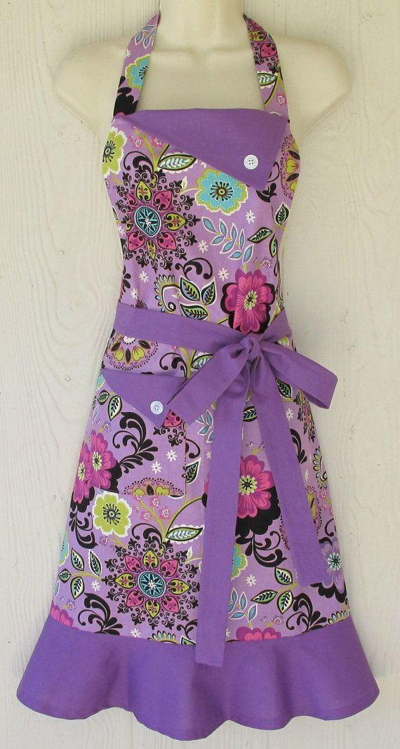 Women's Floral Apron , Retro Style Apron, Full Apron , Orchid Apron, Purple Apron, Flowers , KitschNStyle