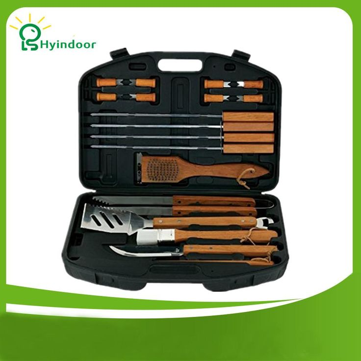 Finest Bbq Tool Set - 18 Pcs Wood/Stainless Steel