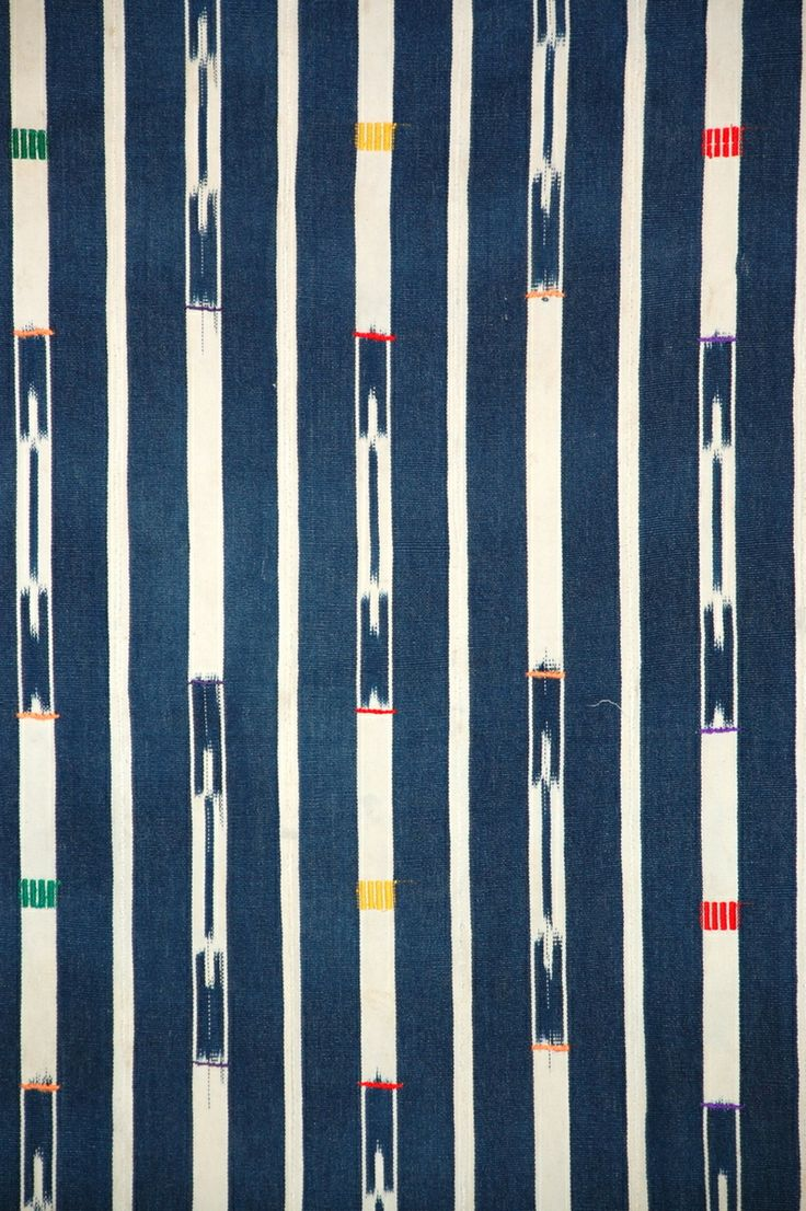 Africa | Detail from an indigo Ikat wrapper from the Baule people of the Ivory Coast | Cotton | ca. Mid 20th century