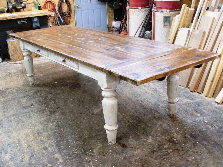 Farmhouse table in white scrubbed pine