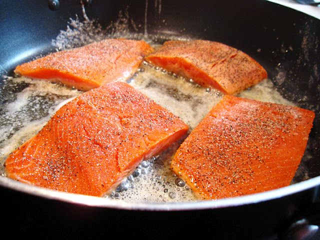 Easy pan-fried salmon filets - for when I'm too lazy to do anything else with it. haha