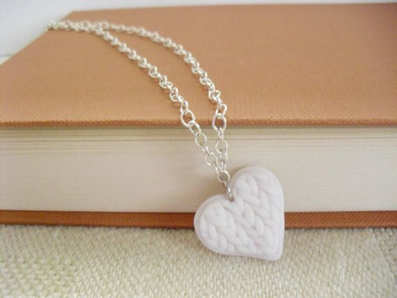 White knitted heart pendant Polymer clay by DivineDecadance, $14.00