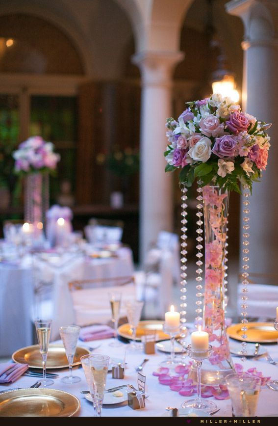 Pic of purple pinks colored wedding reception gold