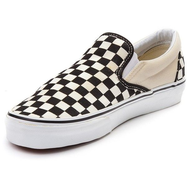Vans Slip On Chex Skate Shoe ($99) ❤ liked on Polyvore featuring shoes, sneakers, grip trainer, low profile sneakers, vans sneakers, vans trainers and low top skate shoes