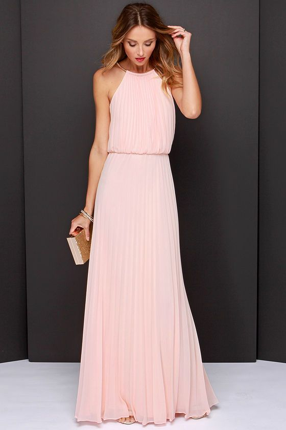 peach pleated maxi dress for spring