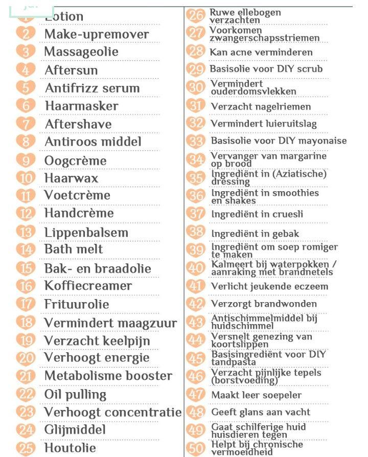 50 toepassingen voor kokosolie
