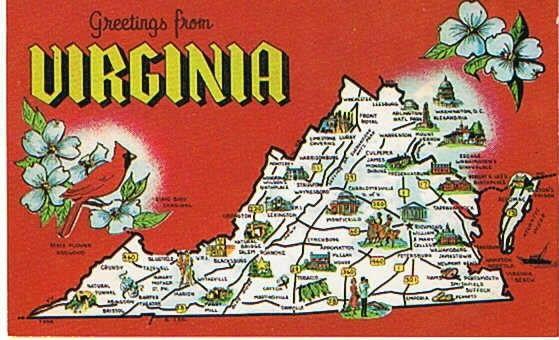 vintage state postcards | Vintage Postcard State Map Virginia Postcard Map America Postcards
