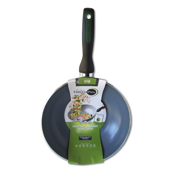 The 280mm Wok from Greenpan is perfect for stir fries and other Asian cuisine. Greenpan's cookware features Termolon non-stick technology and a ceramic coating
